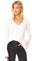 Kendall Kylie V Neck Bell Sleeve Sweater Bright White