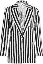 Topshop Unique Harleyford Striped Cotton Blend Blazer Black White