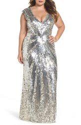 Mac Duggal Plus Size Women's Sequin Plunging V Neck Gown Nude Silver