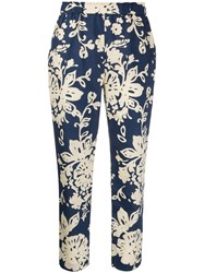 Red Valentino Redvalentino Floral Print Cropped Trousers Blue