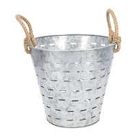 Amara Tall Slotted Galvanised Bucket With Rope Handles
