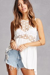 Forever 21 Crochet Lace Up Tank Top Ivory
