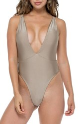 Luli Fama Deep V Reversible One Piece Swimsuit Bronce