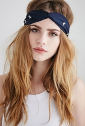 Forever 21 Beaded Chiffon Headwrap Navy Silver