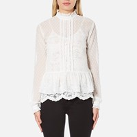 Perseverance Women's Victoriana Dobby Chiffon Blouse With Lace Cami Lining Off White
