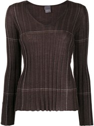 Lorena Antoniazzi Ribbed V Neck Jumper Brown