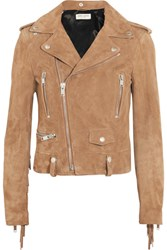 Saint Laurent Fringed Suede Biker Jacket Tan