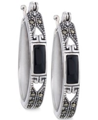 Giani Bernini Marcasite And Onyx Oval Hoop Earrings In Sterling Silver