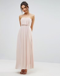 Ax Paris Chiffon Strapless Maxi Dress Nude Cream