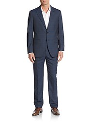 Saks Fifth Avenue Modern Fit Plaid Wool Suit Navy