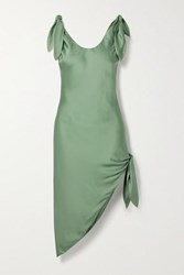 Cult Gaia Delilah Knotted Satin Dress Green