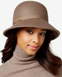 August Hats Ribbon And Chain Link Felt Cloche Putty
