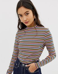 Only Multi Stripe Funnel Neck Top
