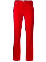 7 For All Mankind Cropped Trousers Red