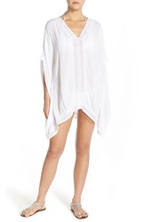 Women's Green Dragon Lace Caftan Cover Up White