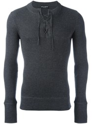 Dolce And Gabbana Tie Neckline Ribbed Jumper Grey