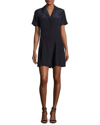 Grey By Jason Wu Short Sleeve Printed Silk Romper Blue