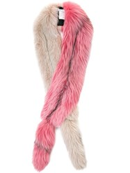 Oscar De La Renta Fisher Fur Stole Pink Purple