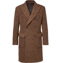 Incotex Slim Fit Double Breasted Dogtooth Alpaca Blend Coat Brown