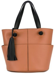 Tod's Tassel Applique Tote Bag Women Calf Leather One Size Brown