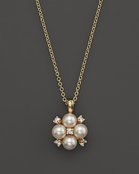 Bloomingdale's Cultured Freshwater Pearl And Diamond Pendant Necklace In 18K Yellow Gold 18 Gold White