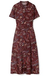Alexachung Printed Satin Midi Dress Burgundy