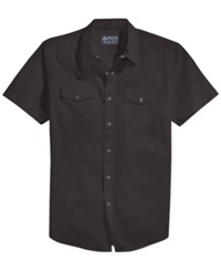 American Rag Anouk Solid Short Sleeve Shirt Black Shad