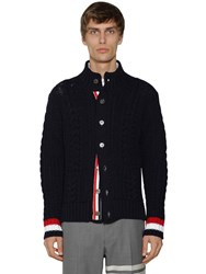 Thom Browne High Collar Wool Aran Cable Cardigan Navy