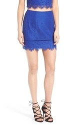 Lovers Friends Shimmer Lace Miniskirt Blue