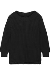 Hatch The Open Neck Ribbed Cotton Blend Sweater Black