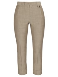 Maison Martin Margiela High Rise Cropped Wool Trousers Light Grey