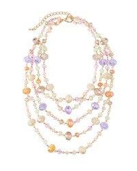 Emily And Ashley Multi Strand Simulated Crystal Necklace Pink