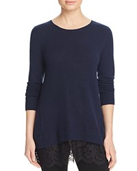 Bloomingdale's C By Lace Trim Cashmere Sweater Dark Navy