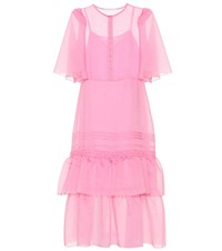 See By Chloe Tiered Midi Dress Pink