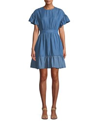Kate Spade Chambray Dress With Flutter Sleeves Indigo