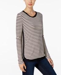 Kut From The Kloth Striped Long Sleeve Top Black Cranberry