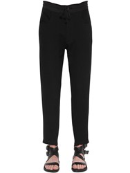 Ann Demeulemeester Slim Wool Pants W Knit Ankle Cuffs Black