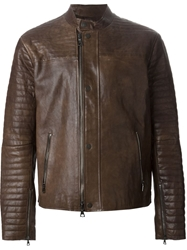 John Varvatos Ribbed Sleeve Biker Jacket Brown
