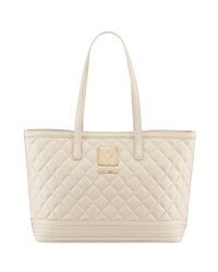 Love Moschino Napa Quilted Faux Napa Satchel Bag Ivory