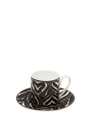 Roberto Cavalli Zebra Set Of 6 Espresso Cup And Saucers