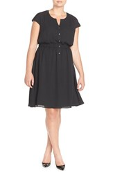 Plus Size Women's Sejour Crepe Georgette Cinched Waist Shirtdress