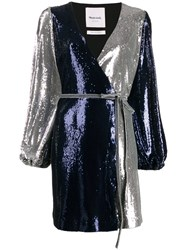 Black Coral Sequin Belted Dress Blue