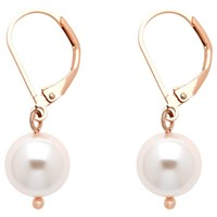 Finesse Faux Pearl Leverback Drop Earrings Pink Rose Gold