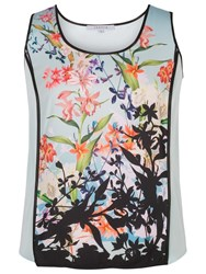 Chesca Floral Print Satin Back Crepe Camisole Top Aqua Multi