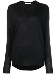 Jean Paul Knott Oversized V Neck Sweater Black