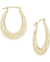 Macy's Patterned Oval Hoop Earrings In 10K Gold