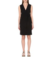 Theory Livwilth Wrap Style Crepe Dress Black