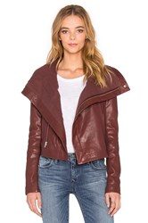 Veda Max Classic Bubble Leather Jacket Maroon