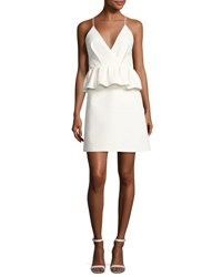 Delpozo Spaghetti Strap Peplum Cocktail Dress White Wool White
