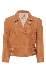 Sea Washed And Treated Moto Jacket Brown